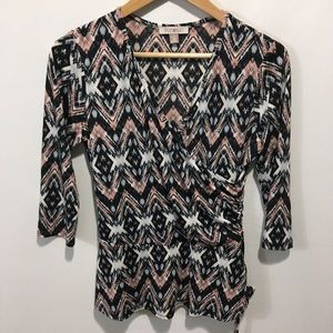 Roz & Ali ruched waist top. Size PM